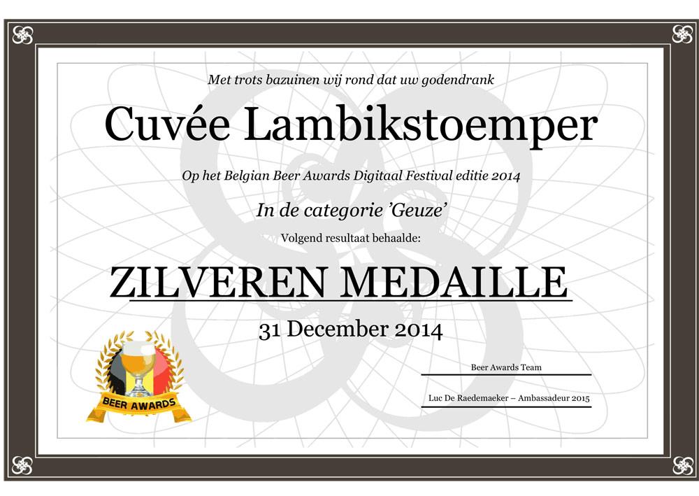 Zilveren medaille Cuvée Lambikstoemper