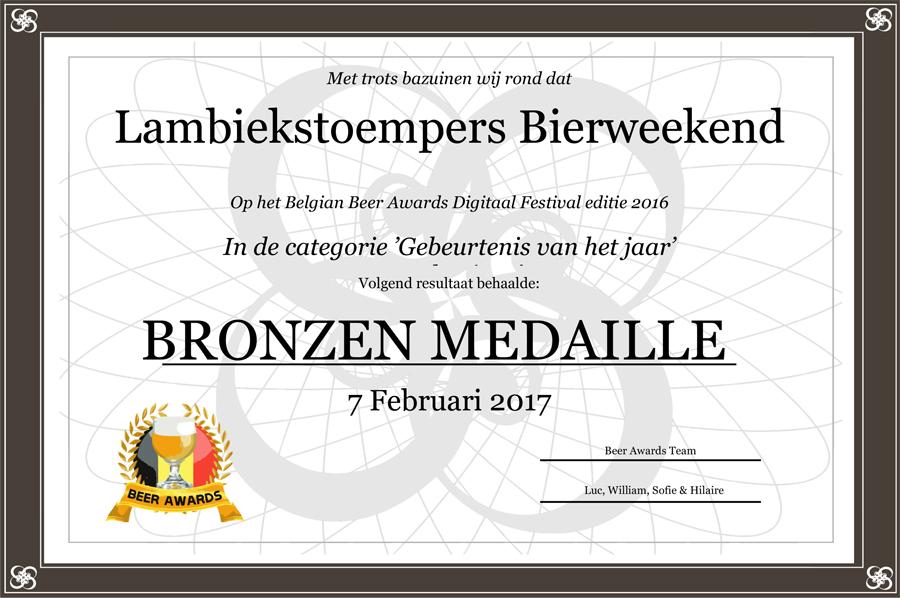 Bierweekend bronzen medaille 2016